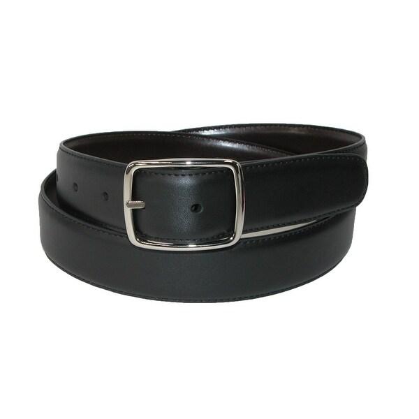 Aquarius Men's Leather Reversible Center Bar Dress Belt
