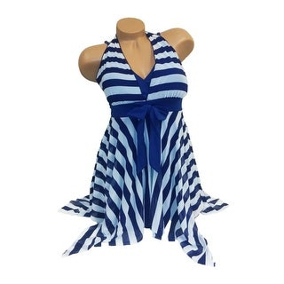 Shuman Women One Piece Swimsuit Dress Cover Up Striped Blue - striped blue - X-LARGE