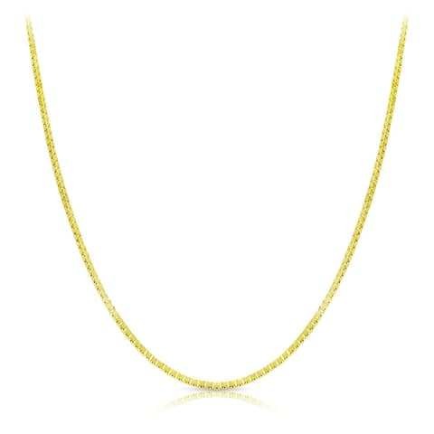 """18k Solid Yellow Gold Box Chain Necklace 0.6mm 16""""-20"""""""