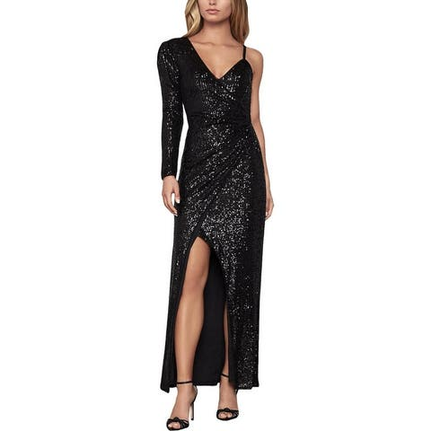 BCBG Max Azria Women's Sequined One Shoulder Ruched Full Length Gown