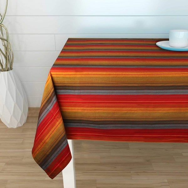 Cuisine Stripes Red Multi Color Table Cloth - 100% Cotton. Opens flyout.