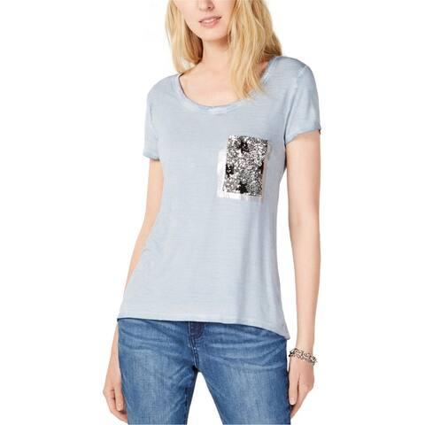 I-N-C Womens Sequin Pocket Embellished T-Shirt