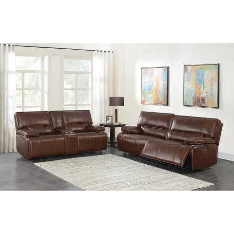 Southwick Saddle Brown Pillow Top Arm 2-piece Power Living Room Set