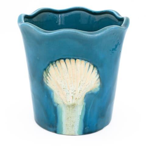 "ClayBarn Grotto Aqua Stoneware 8"" Seashell Planter"