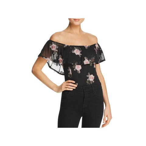 Band of Gypsies Womens Bodysuit Embroidered Off-The-Shoulder