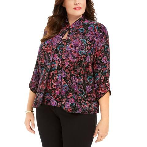 Alex Evenings Womens Twinset Purple Size 1X Plus Metalic 3/4 Sleeve