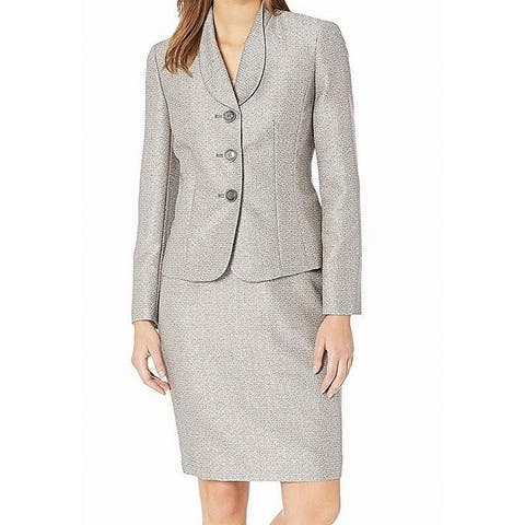 Le Suit Women's Skirt Suit Brown Size 16 3 Button Shawl Collar Tweed