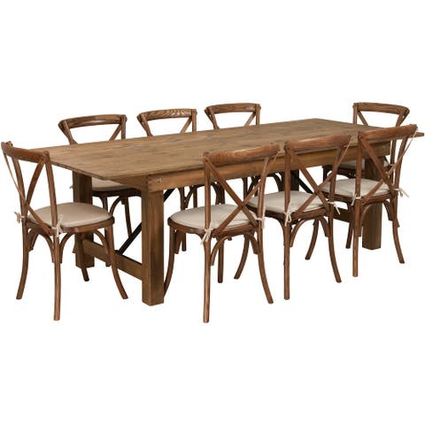 """8' x 40"""" Rustic Folding Farm Table Set with 8 Cross Back Chairs and Cushions"""