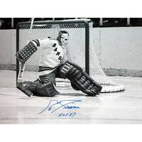 Eddie Giacomin signed New York Rangers 16X20 BW Photo HOF 87