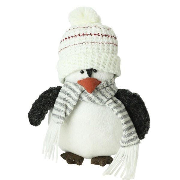 "7"" Plush Christmas Penguin in Striped Scarf and White Beanie Hat"