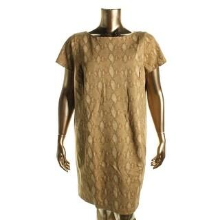 Lauren Ralph Lauren Womens Plus Casual Dress Snake Skin Print Short Sleeves