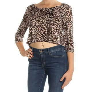 Womens Brown Animal Print 3/4 Sleeve Boat Neck Crop Top Top Size M