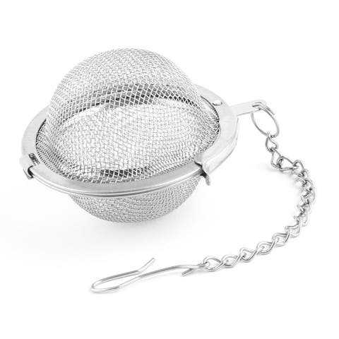 Stainless Steel Locking Chain Cooking Infuser Mesh Tea Ball Strainer 4.5cm Dia - Silver