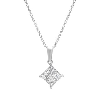 Tile Pendant with Diamonds in 14K White Gold