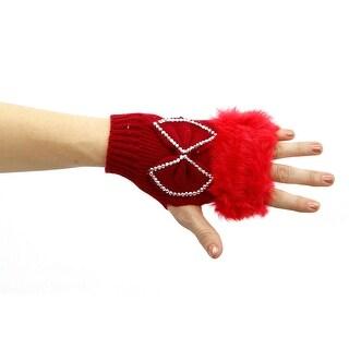 Winter in Aspen Faux Fur and Rhinestone Knit Fingerless Glove