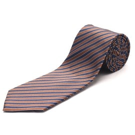 Luciano Barbera Men's Slim Silk Neck Tie Brown Blue
