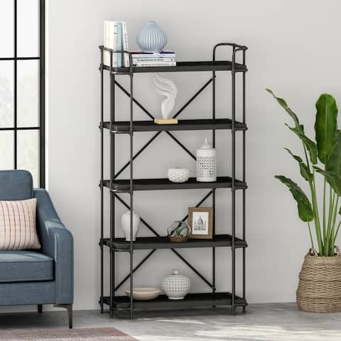 Blackfoot Industrial 5-Shelf Iron Mesh Bookcase by Christopher Knight Home