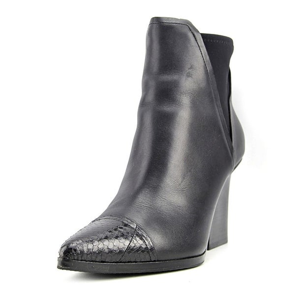 Donald J Pliner Vaughn Women Pointed Toe Leather Black Ankle Boot