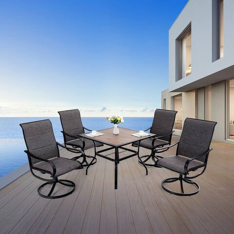 """MFSTUDIO 5-Piece Patio Dining Set with 4 Padded Textilene Swivel Chairs and 37"""" Square Bistro Table with Umbrella Hole"""