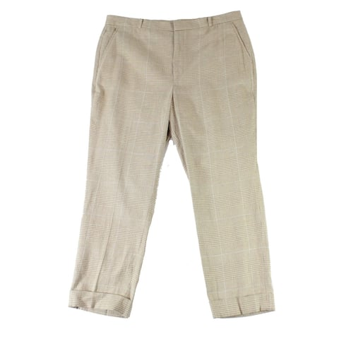 Lauren by Ralph Lauren Womens Dress Pants Beige Size 12 Cuff Glen Plaid