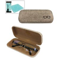 JAVOedge Linen Fabric Hard Shell Eyeglass Case with Microfiber Glasses Cleaning Cloth - brown (eyeglass case only)