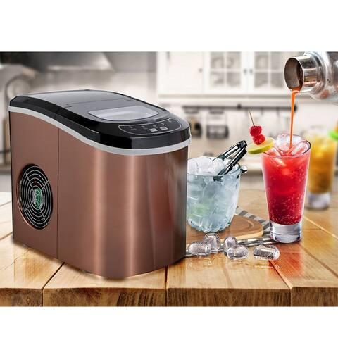 Ice Maker 26 lb/24H Portable Ice Maker Copper Ice Cube Maker (Bronze)
