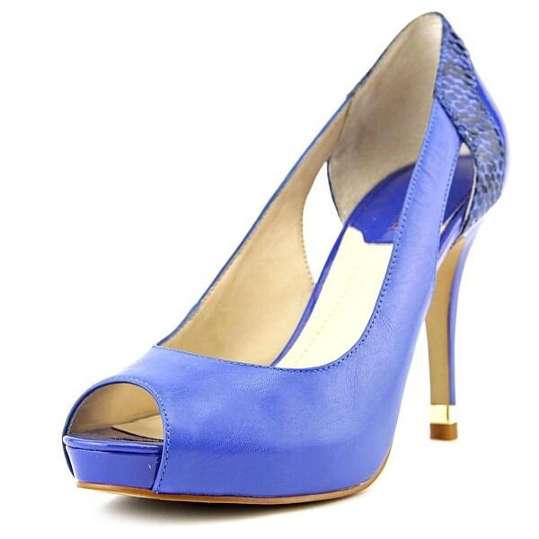 Marc Fisher Bross Women Peep-Toe Leather Blue Heels