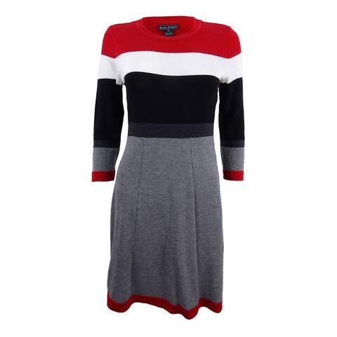 Jessica Howard Women's Petite Colorblocked Sweater Dress - Red