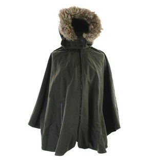 Wildflower Faux-Fur-Trim Hooded Poncho One Size - One Size Fits most