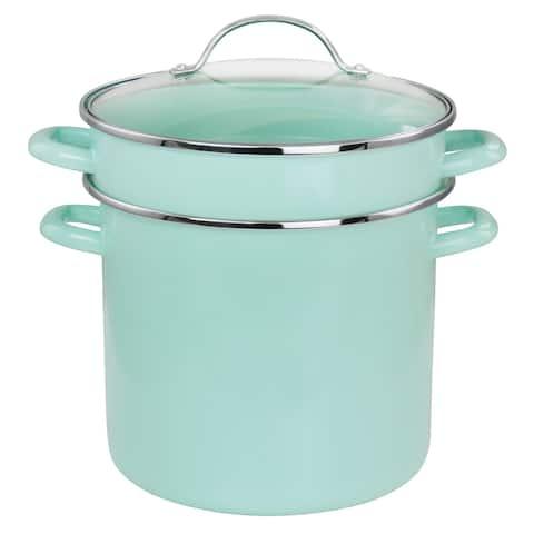 Martha Stewart 8 Quart Dual Stock Pot and Steamer Set in Aqua