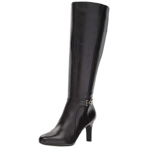 Bandolino Womens Lamari Leather Almond Toe Knee High Fashion Boots