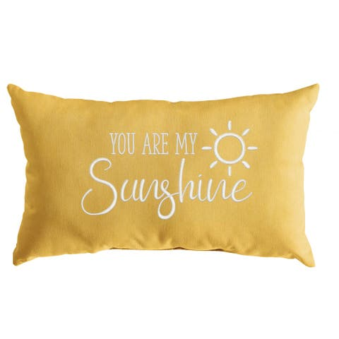 """Indoor/Outdoor Single Embroidered Palm Pillow - """"You Are My Sunshine"""" - 13"""" x 20"""""""