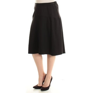 NY COLLECTION $50 Womens New 1650 Black Below The Knee A-Line Casual Skirt S B+B