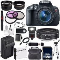 Canon EOS Rebel T5i 18 MP CMOS Digital SLR Camera w/EF-S 18-55mm Lens (International Model) + Canon EF 40mm Lens Bundle