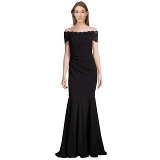 Badgley Mischka Beaded Lace Off Shoulder Evening Gown Dress