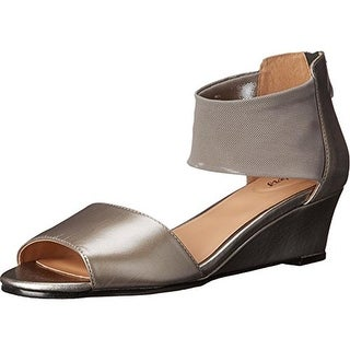 Trotters Womens Maddy Leather Wedge Dress Sandals