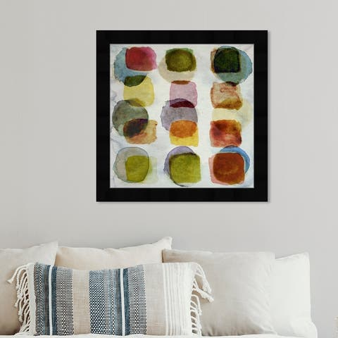 Oliver Gal 'Leaves in Central Park' Abstract Wall Art Framed Print Watercolor - Orange, Green