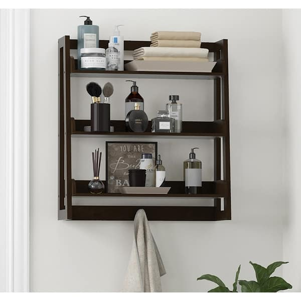 Spirich 3 Tier Wall Cabinet Bathroom Shelf Storage With Towel Hooks Overstock 31893650