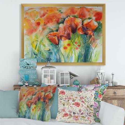 Designart 'Red Blossoming Poppies V' Traditional Framed Art Print