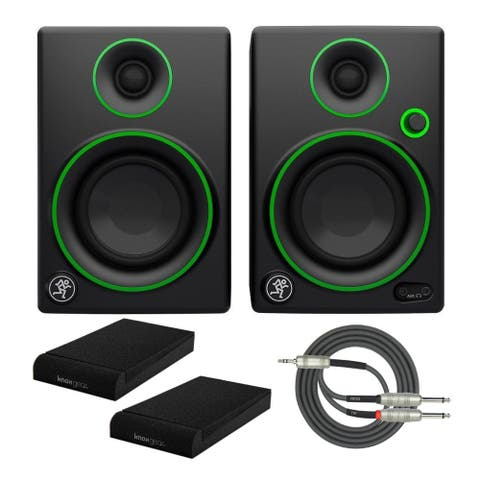 """Mackie CR4 4"""" Multimedia Monitors (Pair) with Isolation Pads & Cable"""