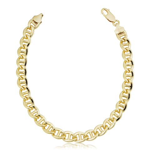 14k Yellow Gold Filled 7.7 millimeter Solid Flat Mariner Chain Bracelet for Men (8.5 inches)