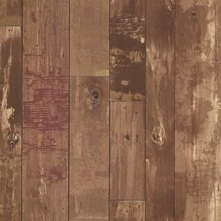 Brewster 347-20129 Heim Brown Distressed Wood Panel Wallpaper