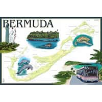 Bermuda - Nautical Chart - LP Artwork (100% Cotton Towel Absorbent)