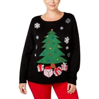 Karen Scott Womens Plus Holiday Pullover Sweater Embellished Tree - 1x