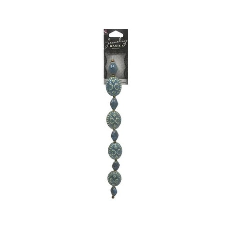 "Cousin Bead Strand 7.75"" Ceramic Mix Teal"