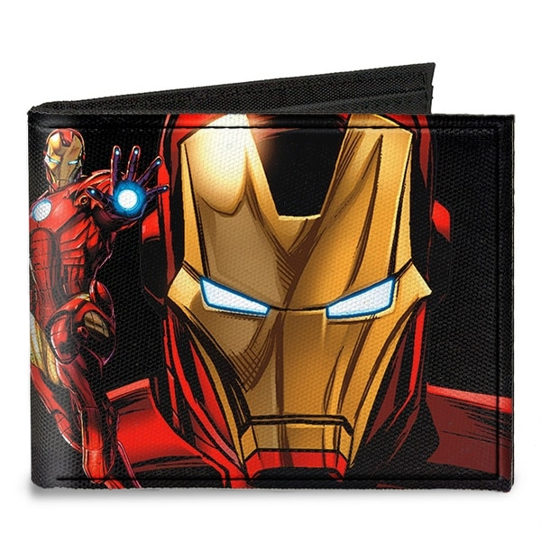 """Iron Man Pose Face Close Up + Pose Iron Man """"A"""" Logo Black Gold Red Canvas Canvas Bi-Fold Wallet One Size - One Size Fits most"""