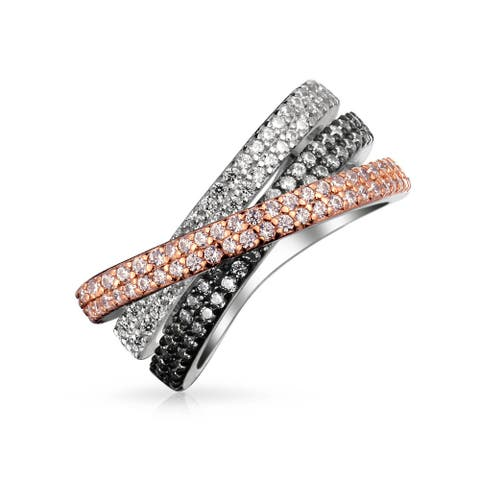 Criss Cross Black White Pink AAA CZ Band Ring Sliver Plated Brass
