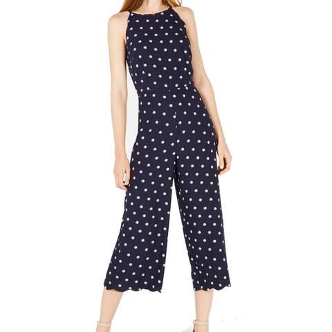 Maison Jules Womens Jumpsuit Blue Size 6 Suns Out Scalloped Halter Capri