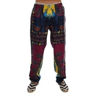 Dolce & Gabbana Dolce & Gabbana Purple Peacock Print SILK Pajama Pants