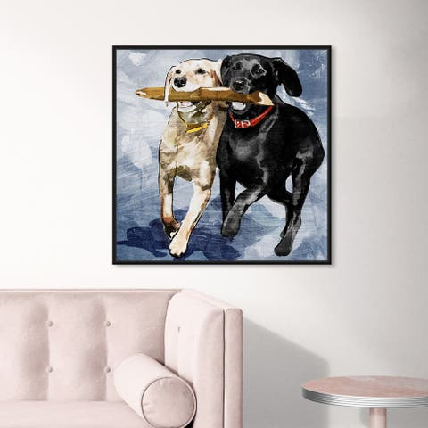 Oliver Gal Animals Wall Art Framed Canvas Prints 'Playtime Blue' Dogs and Puppies - Blue, Blue